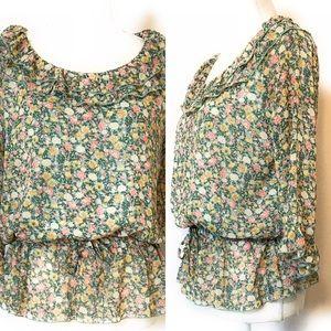 Klein plus floral blouse, Sz 38, green